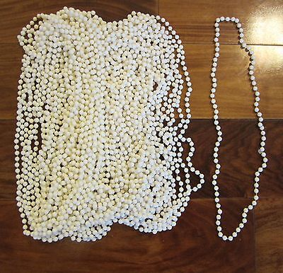 15 White Mardi Gras Beads Necklaces Party Motorcycle Rally Throw Bead Party