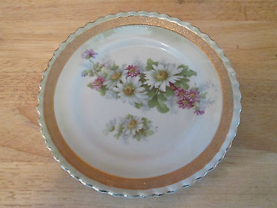 Six inch Decorative Vintage Plate with Flowers / Gold Gilt / Made in Germany