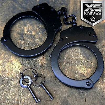 Police Handcuffs BLACK STEEL Double Lock REAL Hand Cuffs w/Keys Authentic   JC02