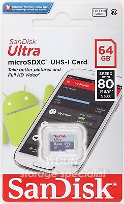 SanDisk Ultra 64 GB 64G micro SD SDHC Class 10 UHS-I 80MB Memory Card TF extreme