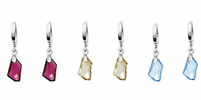 925 Sterling Silver 32mm x 10mm Earrings made with Swarovski Crystals