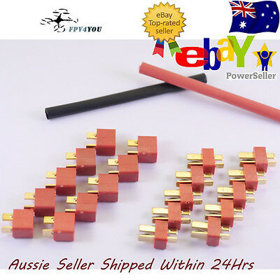 10x Pairs Deans ultra t style plugs + Heat Shrink Lipo Connector Connectors Sets