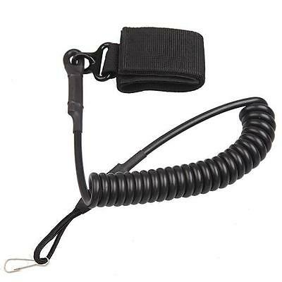 Tactical Pistol Coiled Spring Cord Lanyard Sling security police Black