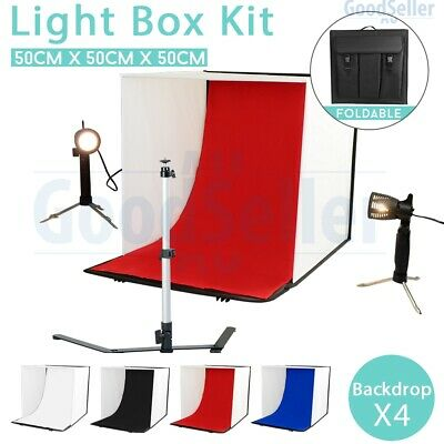 50cm Photography Studio Photo Light Tent Cube Soft Box Lighting Kit w/ Backdrops