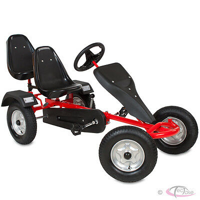 Go Kart Pedal 2 seater Ride On Car Rubber Tires red