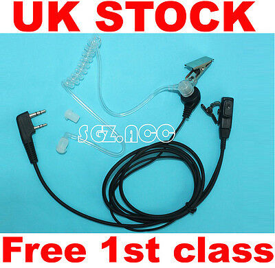 NEW! SIA Security Earpiece Headset Mic for Kenwood Baofeng Radio 2 Pin