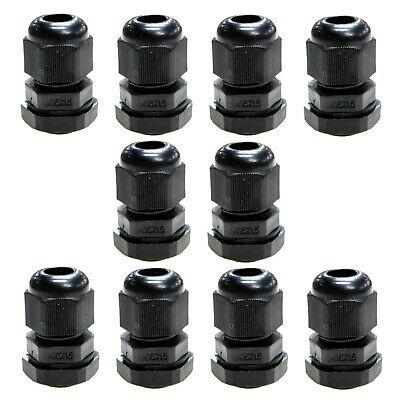 10 x 16mm black waterproof compression TRS cable gland stuffing IP68 locknut M16