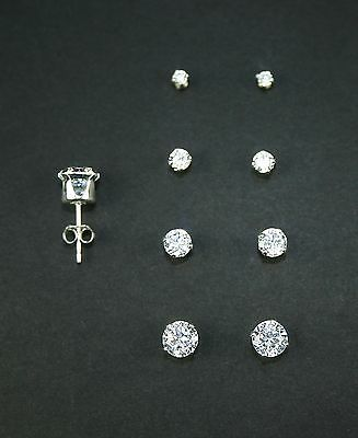 925 Sterling Silver Round Stud Set of 4 Earrings (2mm, 3mm, 4mm, and 5mm)