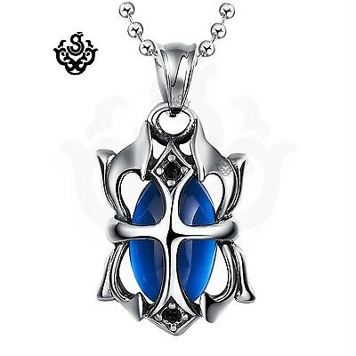 Silver pendant blue swarovski crystal stainless steel necklace gothic new