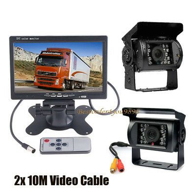 "7"" LCD Monitor Car Rear View Kit + 2x IR Reversing Camera for bus Truck AU"