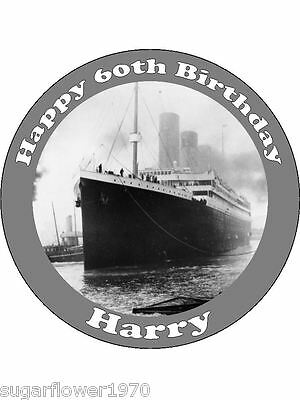Personalised Titanic Ship Edible Icing Birthday Cake Topper Round