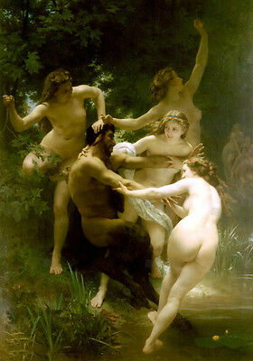 Dream-art Oil painting Bouguereau Nymphs Satyr d of the forest and his women art