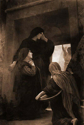 Stunning Oil painting Bouguereau - Holy Women at the Sepulcher & angel canvas