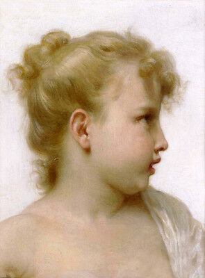 Stunning Oil painting Bouguereau - Head Of A Little Girl with blond canvas