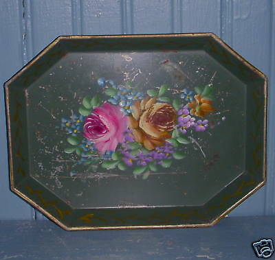 Small Old Antique Hand Painted Rose Floral Green Tole Toleware Tin Metal Tray