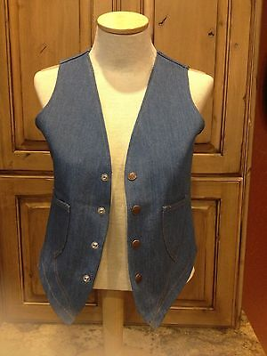 Vtg 70's  Disco Denim Jean Vest Small 34/36 2 Pocket