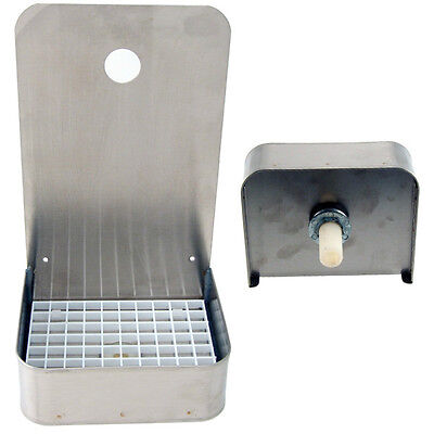 "6"" Wall Mount Drip Tray (Tall) - Stainless Steel with Drain - Draft Beer Spills"