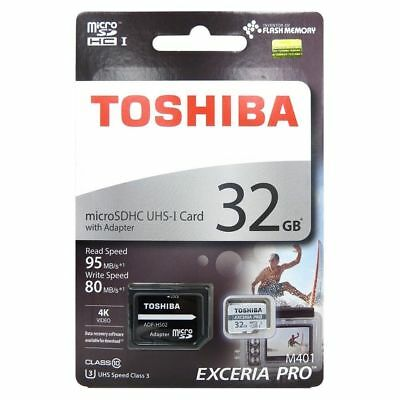 Toshiba 32GB Exceria Pro Micro SD Card SDHC 95MB/s Flash Memory Card + Adapter