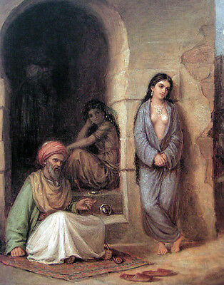 """Fine Oil painting Waterhouse - Slave elder with young girls portraits canvas 36"""""""