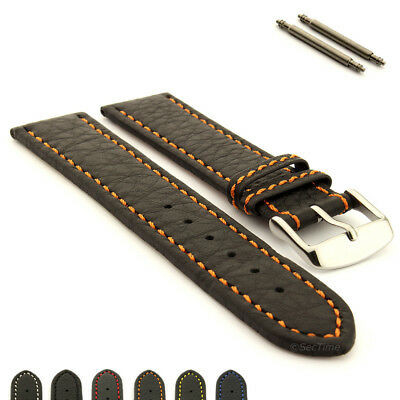 Men's Genuine Leather Replacement Watch Strap Band Kana Spring Bars
