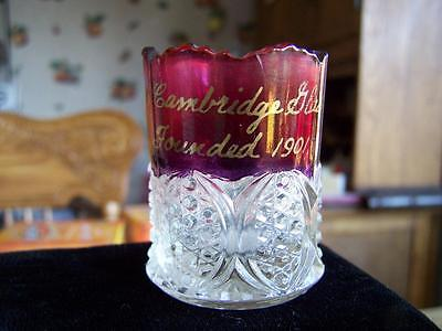 Vintage EAPG RUBY STAIN FLASH Toothpick Holder Cambridge Glass 1901