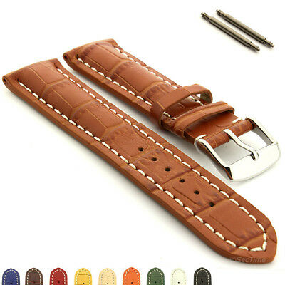 Men's Two-Piece Genuine Leather Watch Strap Band VIP Alligator Grain Spring Bars