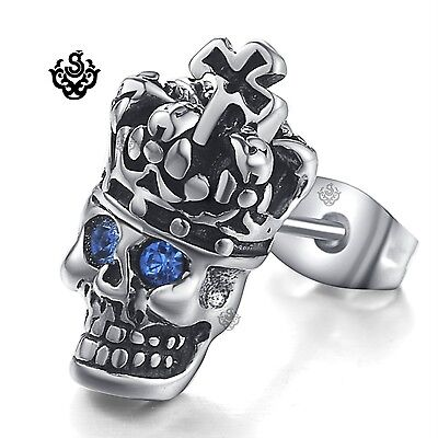 Silver stud blue crystal stainless steel king skull gothic SINGLE earring