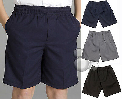 Kids School Shorts Size 4 6 8 10 12 14 S M Black Navy or Grey  New!