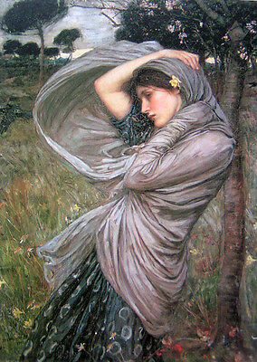 Oil painting J. W. Waterhouse - Boreas Nice young lady woman fairy in wind 36""