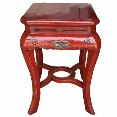 Original Chinese Red Carved Stool/Side Table (06-025)