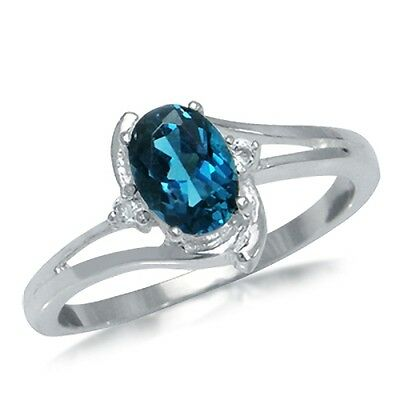 1ct. Natural London Blue & White Topaz 925 Sterling Silver Ring