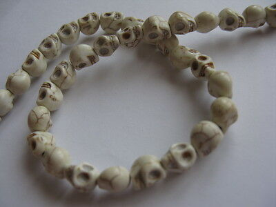 40 Synthitic Howlite Skull Beads - Various Colours