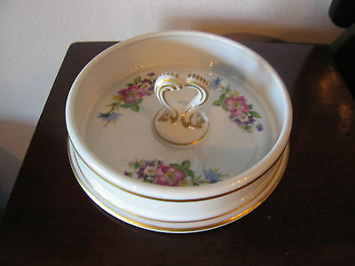 Vintage Likely French Porcelain Ashtray / Candy Dish w/ Floral Decoration