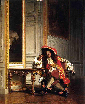 """Stunning Oil painting Jean-Leon Gerom male Jean Bart seated smoking canvas 36"""""""