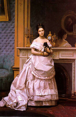 Huge Oil painting Jean-Leon Gerom - Portrait of a Lady in pink dress & pet dog