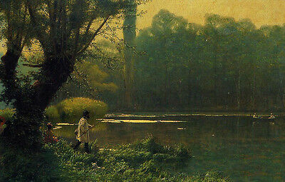 """Wonderful Oil painting Jean-Leon Gerom - Summer Afternoon on a Lake & fisher 36"""""""