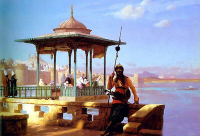 Oil painting Jean-Leon Gerom - The Guardian of the Seraglio by the river canvas