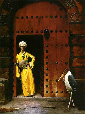 """Oil painting Jean-Leon Gerom - Arab portrait with his pet bird The Marabou 36"""""""