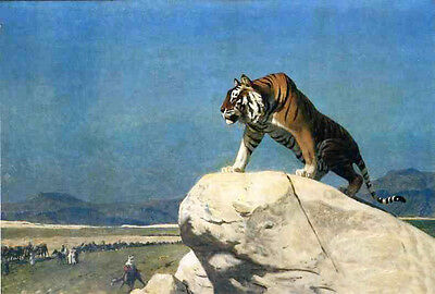 """Art Oil painting Jean-Leon Gerom - Tiger on the Lookout in landscape canvas 36"""""""