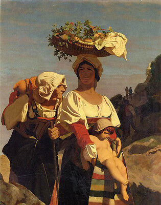 """Art Oil painting Jean-Leon Gerom - Two Italian Peasant Women and an Infant 36"""""""