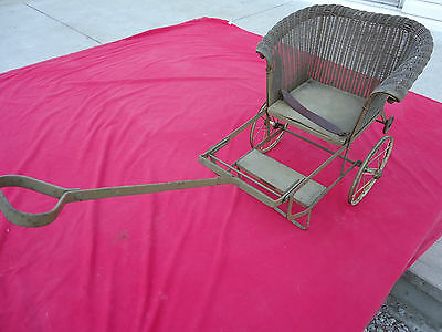 Antique Folding Wicker Baby Child Doll Stroller Buggie