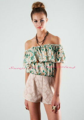 100% AUTH LUCCA COUTURE FlORAL MULTI WAY STYLE OFF SHOULDER CROP TOP BNWT
