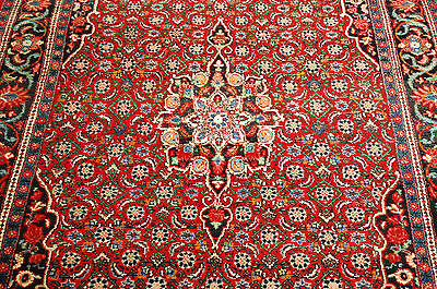 c1930s ANTIQUE HIGHLY DETAILED PERSIAN BIJAR RUG 4.6x6.11 BLACK BORDER BEAUTY