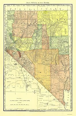 Old State Map - Nevada - Rand McNally 1893 - 23 x 34.65