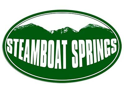 3x5 inch Oval STEAMBOAT SPRINGS Green Mountain Sticker - decal colorado ski snow