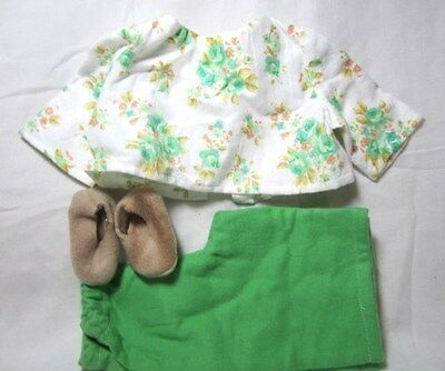 Doll Clothes 18 inch, Fit American Girl PJs Slippers Green White Tan Floral CUTE