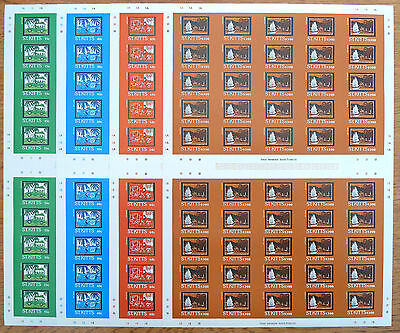St KITTS 1985 BATIQ (4) Imperforate Complete Sheets of 50 NEW LOWER PRICE BN 764