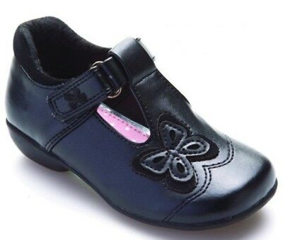 Girls Chatterbox Black Mary Jane Style  School Shoes Butterfly Size 4-12
