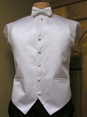 Vest Mens White  Matte Satin Full Back Bow Tie Steampunk Tuxedo Wedding Groom