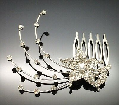 Diamante Wedding Bridal Formal Crystal Hair Comb Clip Flower Girls Decoration